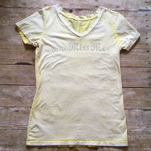 Miss Me Tops - Miss Me yellow T-shirt